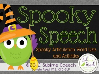 Spooky Speech: Halloween Articulation Word Lists and Activities