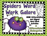 Spider Word Work Galore-Nine Differentiated and Aligned Ac