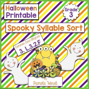 Spooky Syllable Sort - CCSS Halloween ELA Printable