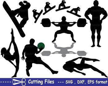 Sport Silhouettei EPS SVG DXF school cutting super footbal