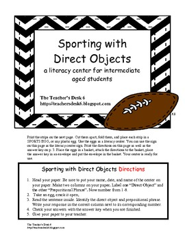 Sporting with Direct Objects Literacy Center
