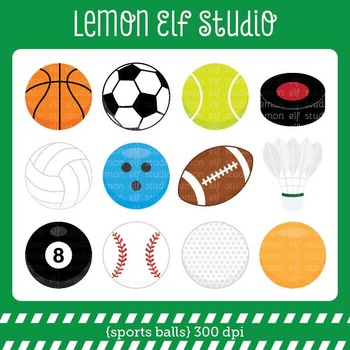 Sports Balls-Digital Clipart (LES.CL26)