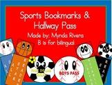 Sports Bookmarks & Hallway Pass (English & Spanish)