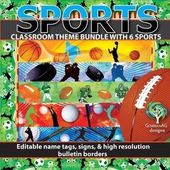 Sports Theme Bundle -basketball, football, soccer, hockey,