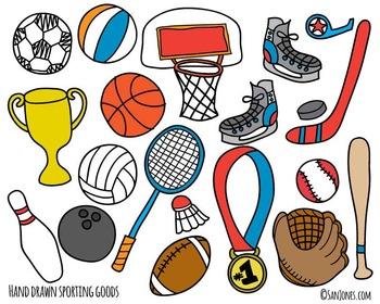 Sports Clip Art - Hand Drawn Clip Art - Sporting Goods