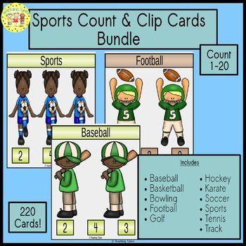 Sports Count and Clip Cards Bundle