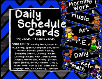 Sports Daily Schedule Cards