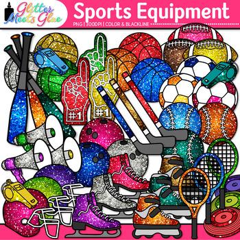 Rainbow Sports Equipment Clip Art {Gym Gear for Physical E