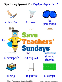 Sports Equipment in Spanish Worksheets, Games, Activities