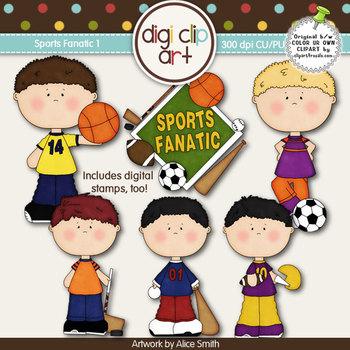 Sports Fanatic 1-  Digi Clip Art/Digital Stamps - CU Clip Art