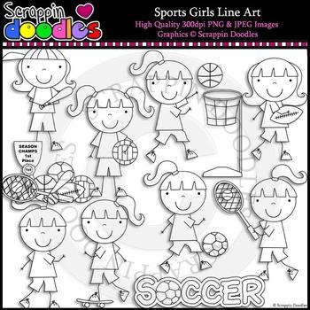 Sports Girls Line Art