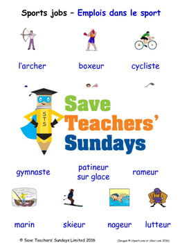 Sports Jobs in French Worksheets, Games, Activities and Fl