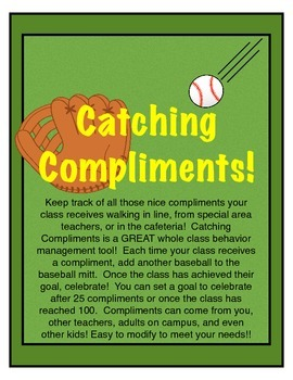 Sports Theme ~ Behavior Management ~ Catching Compliments