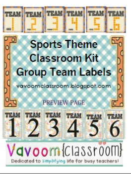 Sports Theme Group Team Labels