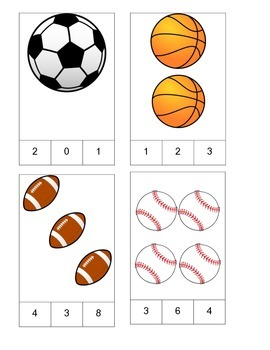 Sports Theme Count and Clip Cards! #1-19