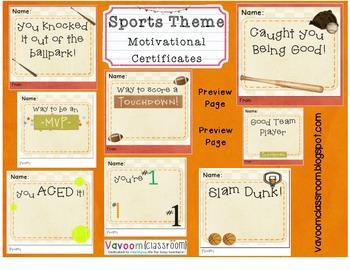 Sports Theme Motivation and Rewards Certificates
