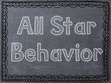 Sports Themed Behavior Clip Chart - Chevron/Chalkboard Fra