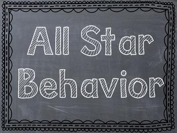 Sports Themed Behavior Clip Chart - Chevron/Chalkboard Fra