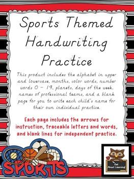 Sports Themed D'Nealian Handwriting Practice