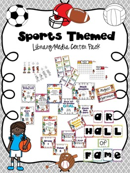Sports Themed Library/Media Center Pack {with EDITABLE pas