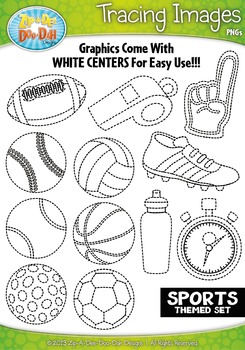 Sports Themed Tracing Image Clipart Set — Includes 20 Graphics!