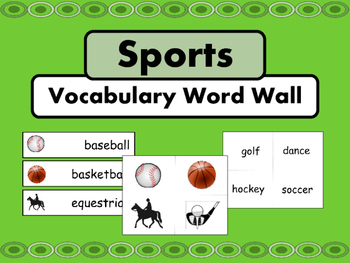 Sports Vocabulary ESL Word Wall