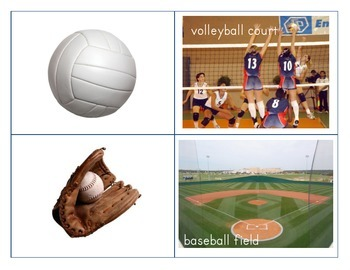 Sports equipment/sports field matching game