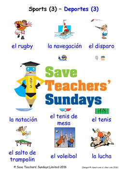 Sports in Spanish Worksheets, Games, Activities and Flash