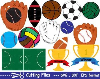 Sports items EPS SVG DXF school field gear soft football b