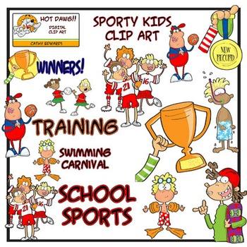 Sporty Kids - Digital clip art by Hot Dawg Illustration