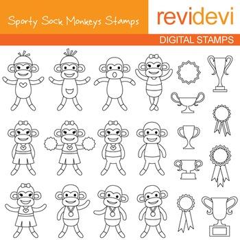 Sporty sock monkey blackline clip art - line art design