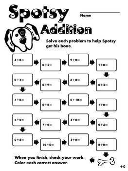 Spotsy Addition - Zeroes - Simple Addition Operations Prac