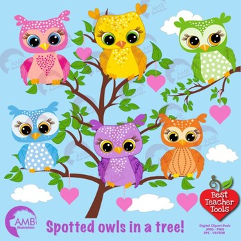 Owl clipart, Spotted Owls cliparts AMB-286
