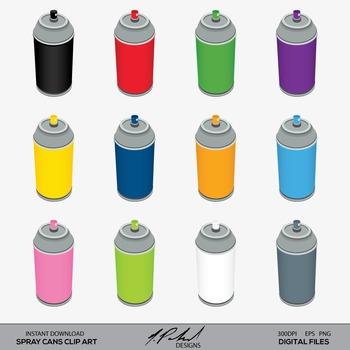 Spray Can Digital Clip Art - Spray Cans - Graffiti