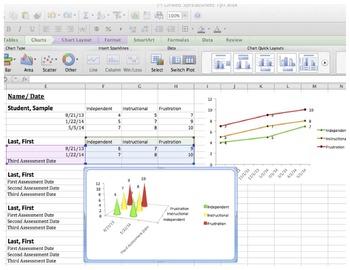 Spreadsheet for tracking reading assessment results - Crea