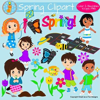 Spring Activities Children Clipart