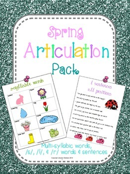 Spring Articulation Pack (/l/, /r/, /s/ and multi-syllabic words)