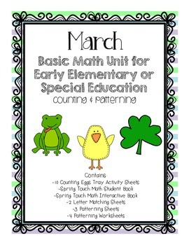 March Basic Math Unit for Early Elementary or Special Ed: