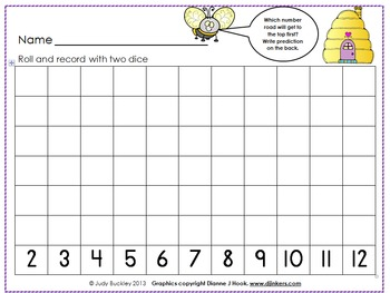 Spring Bee Roll and Record With Two Dice