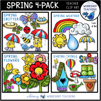 Spring 4-Pack Bundle (70 graphics) Whimsy Workshop Teaching