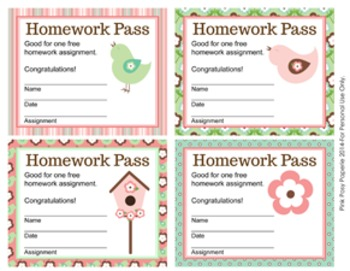 Spring Bird Homework Passes **Freebie**
