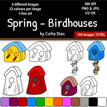 Spring - Birdhouses Clip Art