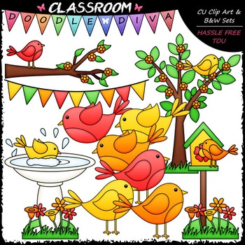 Spring Birds Clip Art - Spring Clip Art & B&W Set