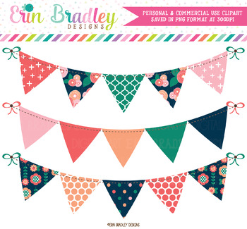 Spring Bloom Bunting Clipart Banners