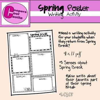 Spring Break Poster (11 X 17) Writing Activity