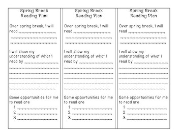 Spring Break Reading Plan Bookmarks (can be used as homewo