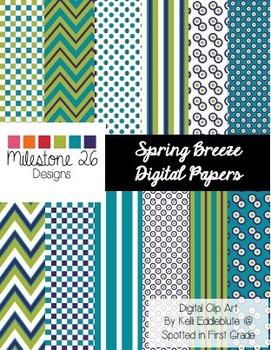 Spring Breeze Digital Papers {Milestone 26 Designs}