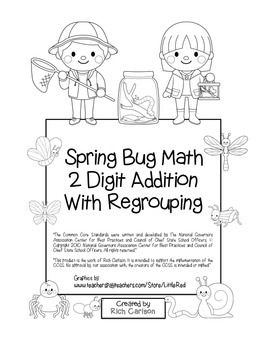 """Spring Bug Math"" 2 Digit Addition With Regrouping - Commo"