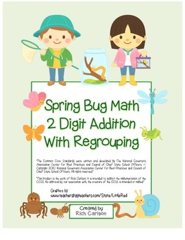 """""""Spring Bug Math"""" 2 Digit Addition With Regrouping - Commo"""