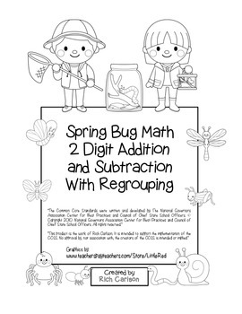 """Spring Bug Math"" 2 Digit Subtract & Add Regrouping - Comm"